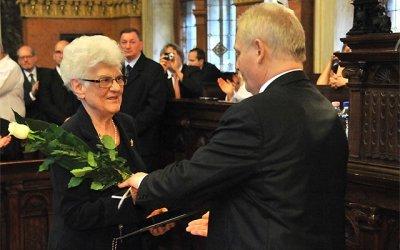 Dr. Vasváry Artúrné, a Magyar Rákellenes Liga tiszteletbeli elnöke (Fotó: budapest.hu)