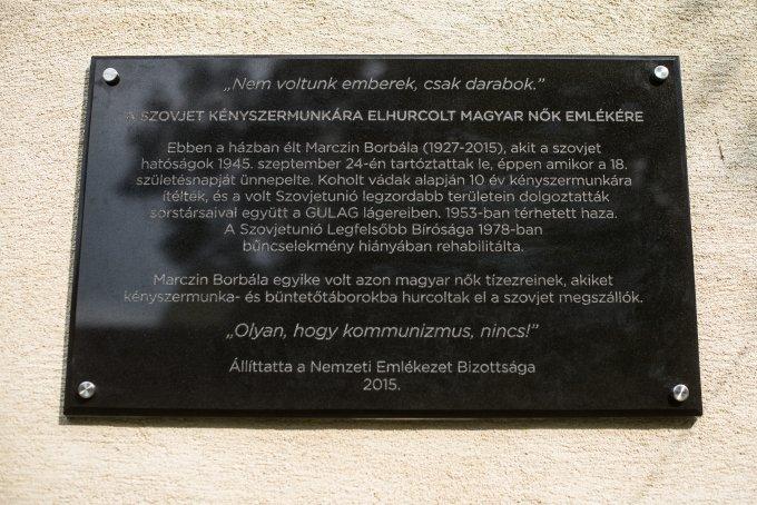 Felavatták Marczin Borbála emléktábláját