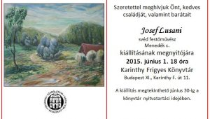 Josef Lusani kiállítása a Karinthy Frigyes Könyvtárban